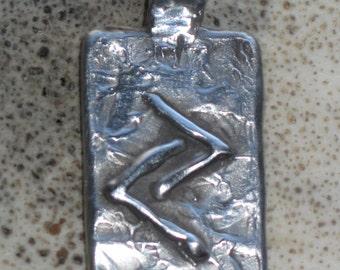 RUNES.Elder Futhark Rune of Rewards JERA.Sterling Silver Rune Pendant.Organic texture.Magical Runes.Magical Charms. Viking Runes