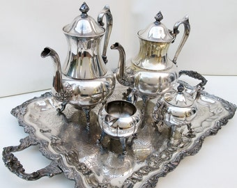 Vintage Silver Tea Coffee Set | Sheridan Silver Plate | Sheridan Tea Service | Large Serving Tray | 5 Piece Set