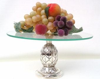 Vintage Pineapple Decor, Pineapple Display, Pedestal Cake Stand, Godinger Silver Art