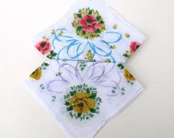 Vintage Hankies / Ladies Handkerchiefs / Pink Yellow Rosess and Turquoise Purple Ribbons - Purse Accessories Set of 2