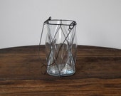 Vintage Hanging Lantern Glass Vase or Container Clear Clover Shape with Bronze Wire
