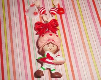 Vintage Strawberry Shortcake Strawberry Cake Beaded Charm Necklace