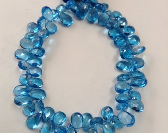 Blue Topaz Faceted Briolettes-Graduated