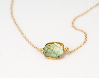 Labradorite Slice Connector Necklace -  Layered Necklaces - Electropformed Slice - Gold Necklace - Layering Jewelry