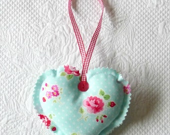 Floral Hanging Heart Ornament Fabric Heart pink roses Aqua Cottage Chic europeanstreetteam