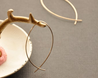 "Large Fish Hoops, Gold Christian Ichthus Earrings, Gold Ear Thread, Gifts for Girlfriend, 1 1/2"", 2, 2 1/2"""