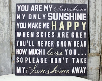 You Are My Sunshine Quote on Wood or Canvas, You Are My Sunshine Personalized with Name, Baby Gift Wall Art on Wood or Canvas Typography