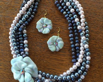 Pink and Grey Beaded with Freshwater Pearl and Vintage Brooch Necklace and Earring Set