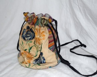 Secret Garden - Drawstring Flower and Southwestern Print Shoulder Purse