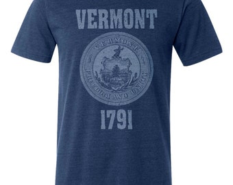 Vermont State Seal T-Shirt. Vintage Style Soft Retro New England Shirt Unisex Men's Slim Fit and Women's Tee