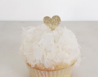 24 MINI glitter heart cupcake toppers // Party Pick (Set of 24)