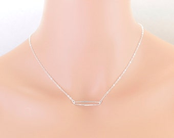 Skinny Oval Link Necklace Sterling Silver Parties, Birthdays, Casual