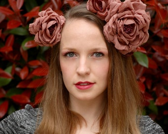 Dusty Pink Kimono Silk Floral Crown Headdress