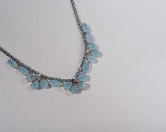Vintage 1950s Blue Wedding Necklace - Aurora Borealis Rhinestone - Bridal Fashions