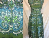 Vintage 1950's Novelty Ethnic Paisley Mid Century Linen Pleated Teal and Emerald Dress SM