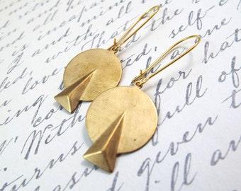 Modern Gold Geometric Earrings - Brass Circuitous Earrings