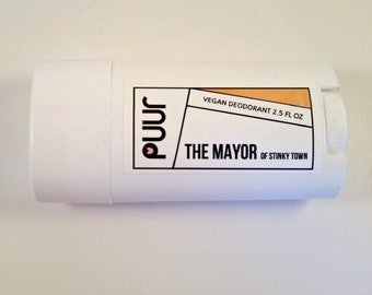 VEGAN Natural Deodorant The Mayor of Stinky Town Extra Strength Deodorant Stick All Natural Tea Tree Lavender Essential oil Unisex Deoderent