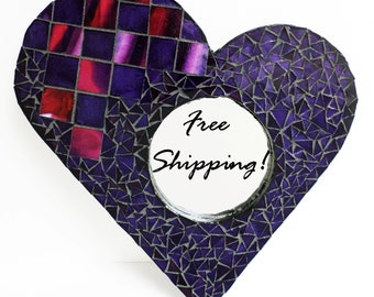 "Mirror Mosaic Heart Purple Red Check by Cheri ""Chips of Color"""