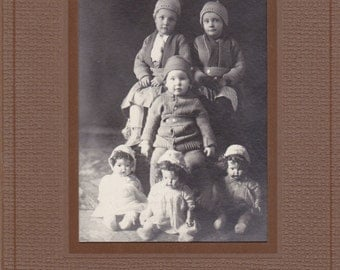 Double Triple- 1910s Antique Photograph- Triplets- Edwardian Children Trio- Creepy Dolls- Knit Sweaters- Found Photo- Paper Ephemera
