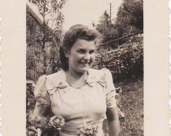 Bridesmaid- 1940s Vintage Photograph- Wedding Snapshot- Bridal Party- 40s Woman- Found Photo- Flower Bouquet- Old Picture- Paper Ephemera