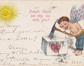 Doesn't Cupid Cut Any Ice With You- 1900s Antique Postcard- Ice Breaker- Frozen Heart- Edwardian Valentine- Art Comic-  Paper Ephemera