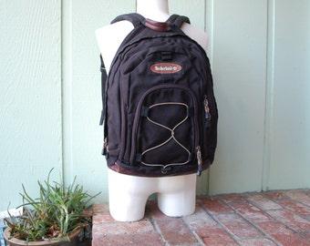 VTG Timberland Black Nylon Burgundy Plum Leather Backpack Book Bag Sack Pack Ruck Sack Student Laptop Hiking Backpack Hiker Preppy Biker Bag