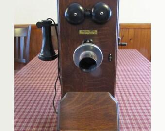 Antique 1913 Western Electric Oak Wall Crank Ringer Telephone