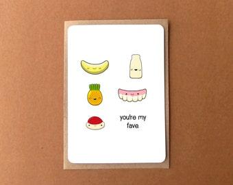 Cute love card, YOURE MY FAVE, candy card, Australian lollies, anniversary card, gift for girlfriend, boyfriend, husband, wife.
