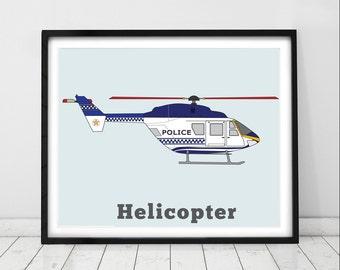 HELICOPTER Boys Room. Police Rescue Helicopter Print. Transportation Nursery, Baby Boy Decor. Police Decor. Aviation Print