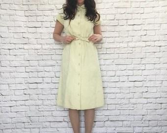 Vintage 70s Citron Ultrasuede Dress S M Belted Knee Length Cap Sleeve Button Front