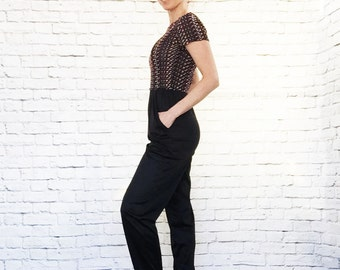 Vintage 80s Rainbow Bouclé Top Open Back Jumpsuit Black Draped Tapered Pants S