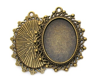 Cabochon Settings : 10 Antique Bronze 18mm x 25mm Pendant Settings | Bezels | Cameo Settings -- 15289.H4J