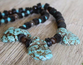 50% OFF CLEARANCE / Chunky Necklace with Blue Magnesite, Wood and Agate / Chunky Necklace / Gifts for Him / Jewelry for Him / Blue Necklace