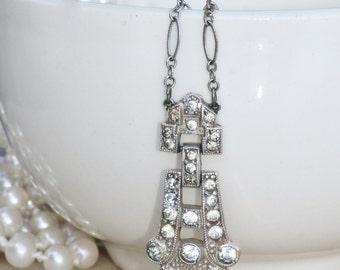 Authentic 1920s Art Deco Rhinestone Necklace,Bridal Rhinestone Necklace,Paste Rhinestone Pendant,Flapper,Heirloom,Clear Crystal,OOAK,Gatsby