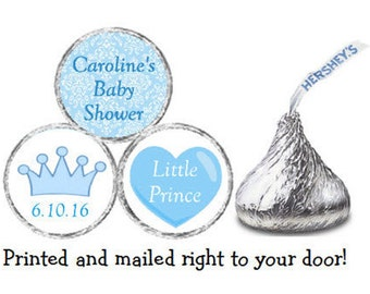 Printed 216 Baby Shower Personalized Prince Crown Stickers Chocolate Kiss® Candy - Blue Damask Personalized Labels for Favors