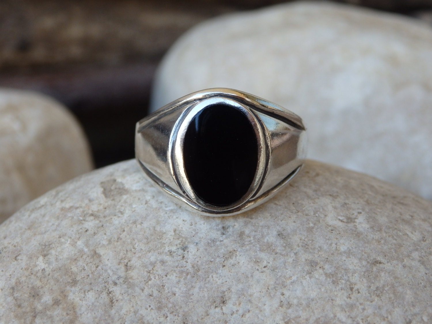 silver onyx signet ring 925 sterling silver ring oval