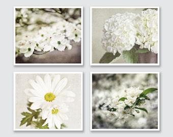 Cream Flower Photograph Print or Canvas Wrap Set, White Flower Print Set of 4 Flower Photographs, Shabby Chic Decor Set, Cottage Chic Art.