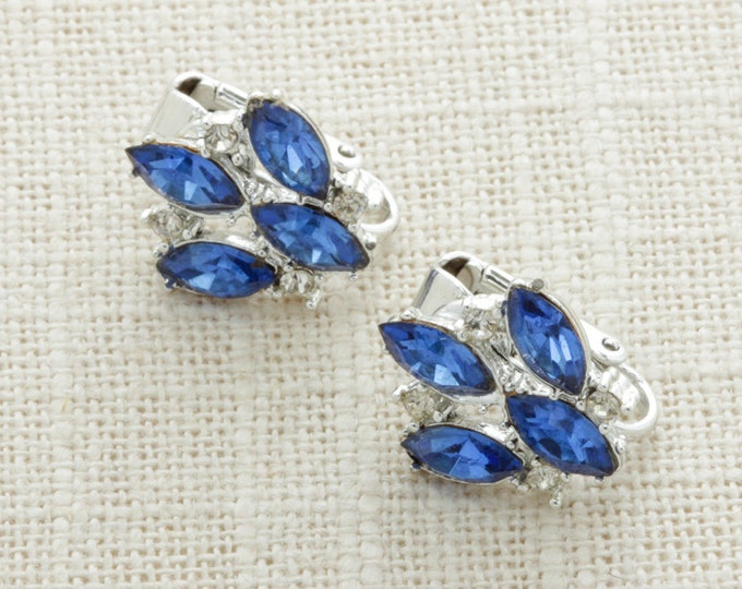 Blue Rhinestone Earrings Silver Clip On Marquise Bright Blue | Clip On Earings | Costume Jewelry | True Vintage 16A