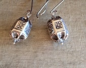 Sundance Style Hill Tribe Fine Silver Bonbon Earrings with Swarovski Accents - Exotic Earrings, Go-to Earrings - Color Variations Possible