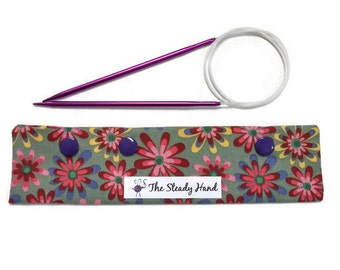 """Small Pretty Colorful Flowers on Green Background Knitting Needles DPN Circular Project Holder for needles up to 7-1/2"""" long S209"""