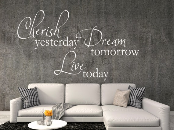 Family Photo Wall Decal, Photo Wall Decal, Cherish Yesterday Dream Tomorrow Live Today, Vinyl Wall Decal, Wall Art, Family Wall Decal