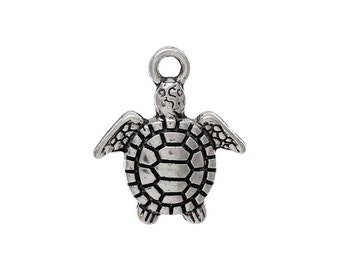 10 Silver Tone Turtle Charms - C2320