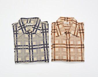 mens vintage shirt 70s bold plaid dress shirt brown blue tan butterfly collar Neiman Marcus 1970 menswear medium M 2 for 1