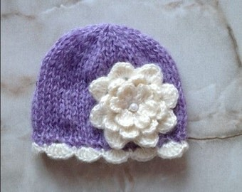 newborn photo prop, beanie with a large flower, newborn girl, newborn knit hat, newborn hat, baby props, newborn props, photography props