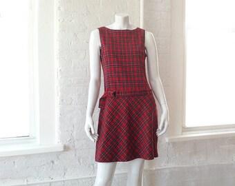 Red Plaid Dress Kilt 90s Vintage Grunge Sheath Dress Small Medium Pencil Skirt Goth Lolita Schoolgirl Punk Rock Clueless Holiday Shift Dress
