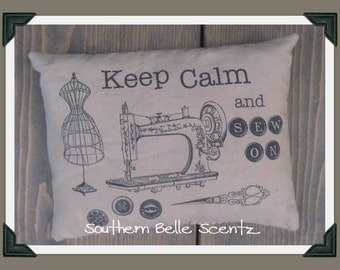 Keep Calm and Sew Sewing Machine Feedsack Pillow