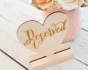 Reserved Table Sign Rustic Wedding Table Sign Reserved Heart Sign DownInTheBoondocks