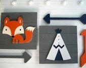 Adventure Nursery Set . Fox Sign . Teepee Sign . Wooden Arrow Set . Modern Nursery . Tribal Nursery . Big Boy Room . Woodland . Adventure