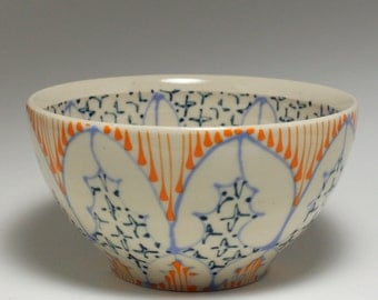 Small Wheel Thrown Handmade Ceramic Bowl with Sky Blue, Orange and Navy Pattern