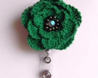 ID Badge Holder Crocheted Flower Retractable ID Reel